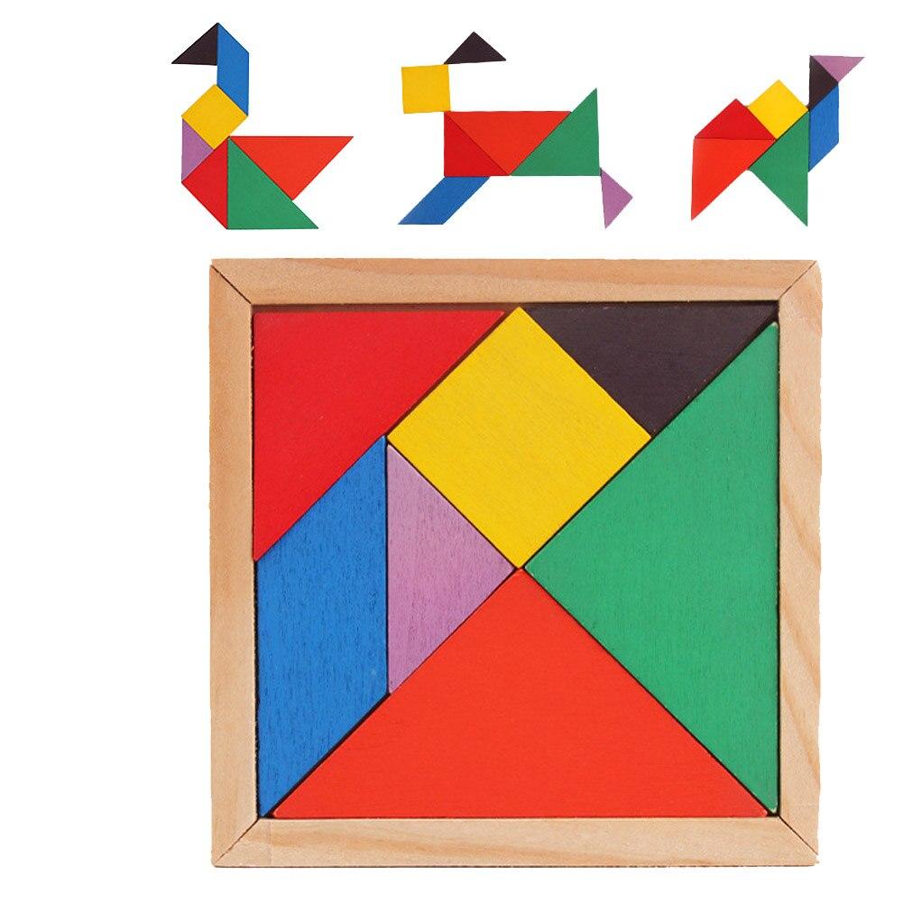 Качество Дети умственное развитие Tangram деревянные головоломки Развивающие игрушки для детей, бесплатная доставка