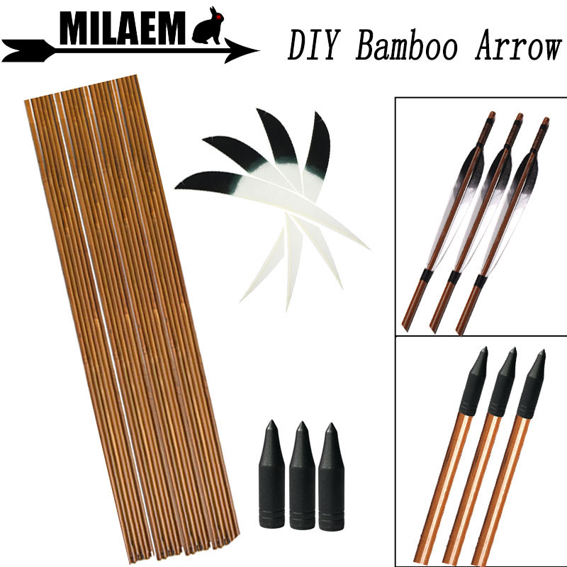 6/12pcs Archery Bamboo Arrow Shaft 83cm 5inch Turkey Feather 80Gr Points DIY Shooting Bow Accessories