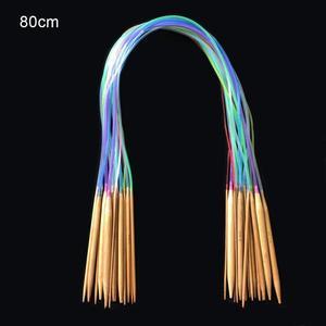 Image 4 - Multicolor tube 18size/set Bamboo Circular Crochet Knitting Needles Set 40 120cm Sewing Pattern  Thickness Knitting Needles
