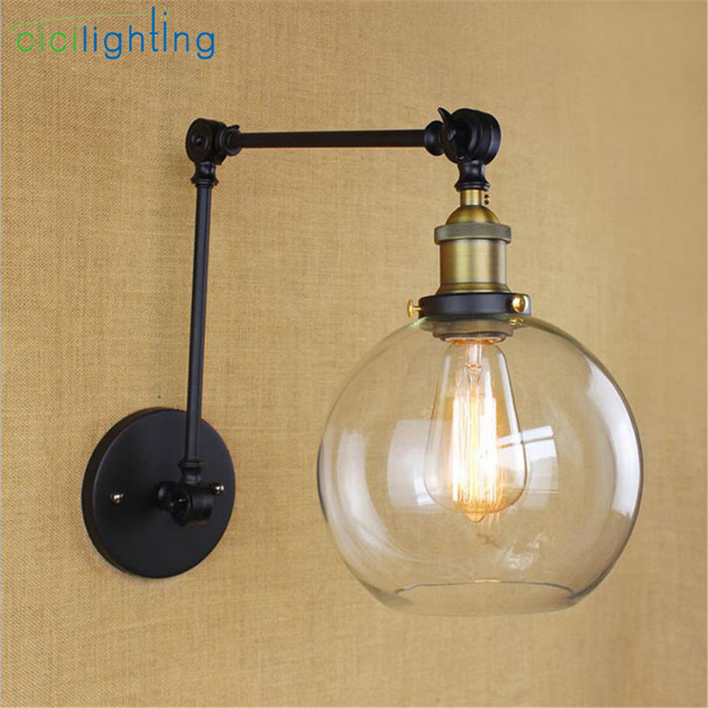Black Chrome Bronze Gold swing arm Wall lights Globe glass lampshade ...