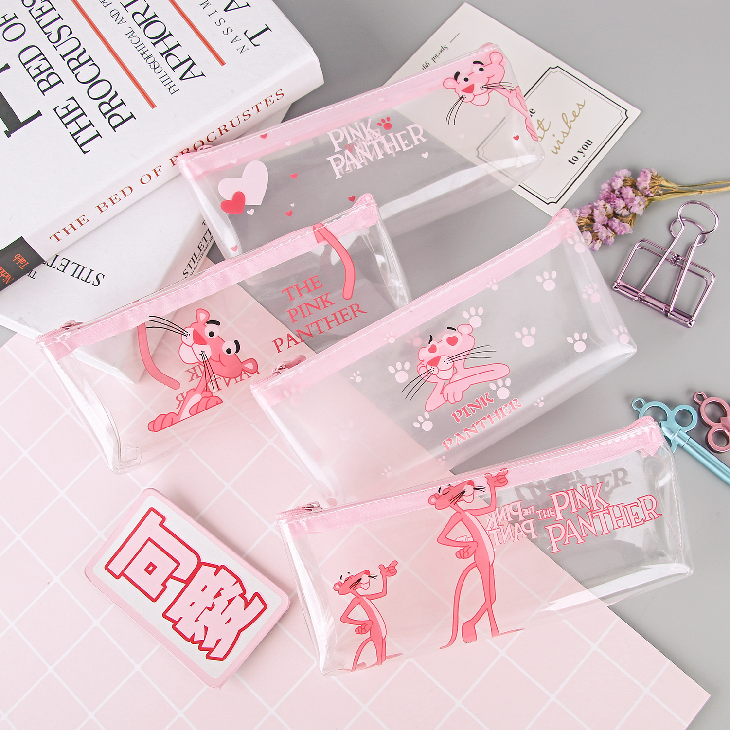 Transparent Cartoon Pencil Case Kawaii Pink Panther Big Large Pencil Bag For Girls Kid Children Office School Supplie Stationery