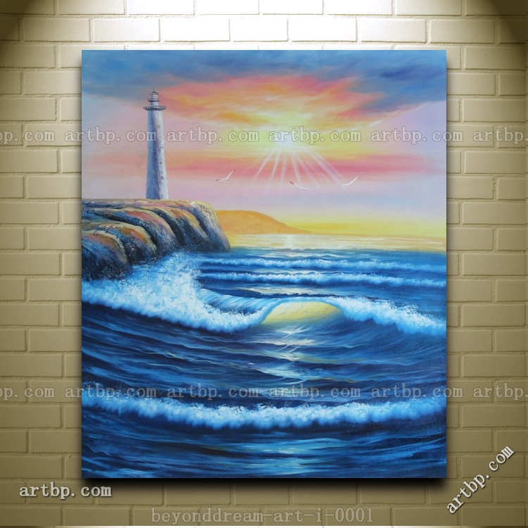 coastal lighthouse with flying birds at sunset oil painting