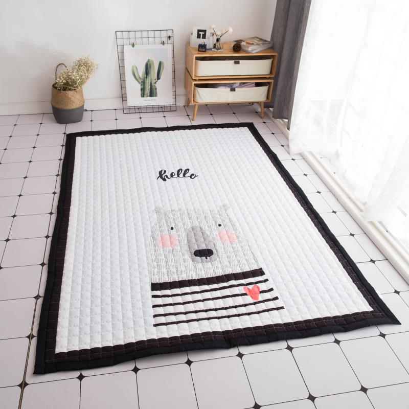 Nordic Infant Cartoon Baby Play Mats Thicking Cotton Carpet Living Room Children Bedroom Rugs Eco-friendly Blanket Crawling Mat infant shining play mat nordic style rugs and carpets for living room bedroom soft velvet kid s game mat coffee table carpet