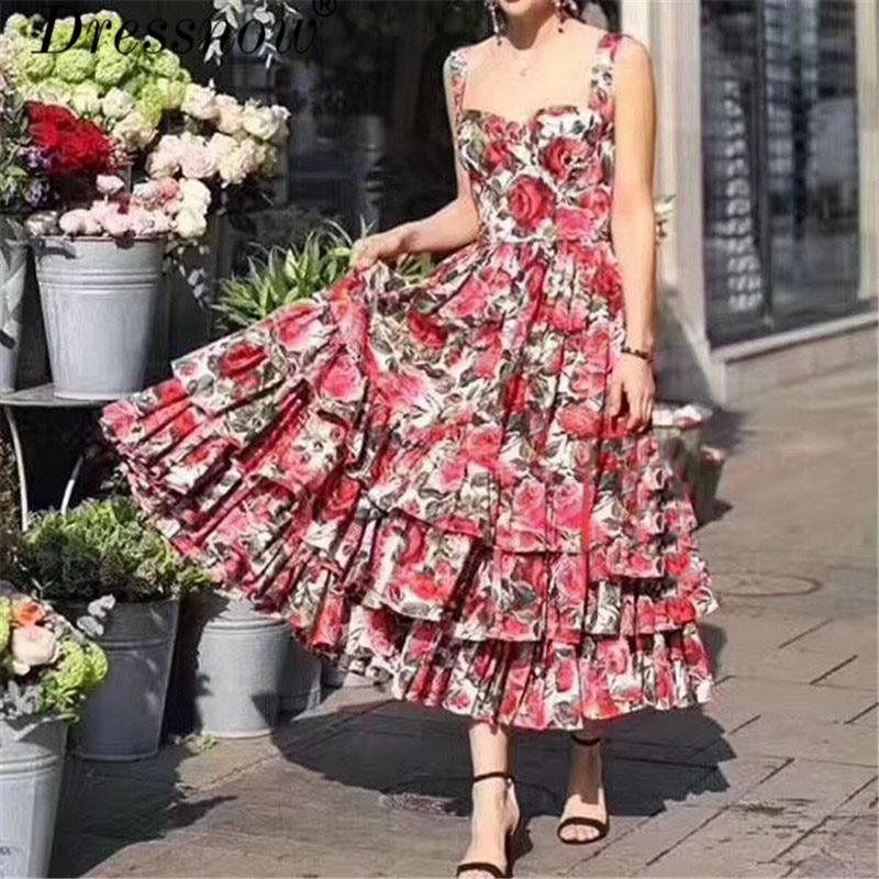 цены High Quality Dresses for Women Sleeveless Square Neck Floral Print Dresses Ankle-length A-line Dresses