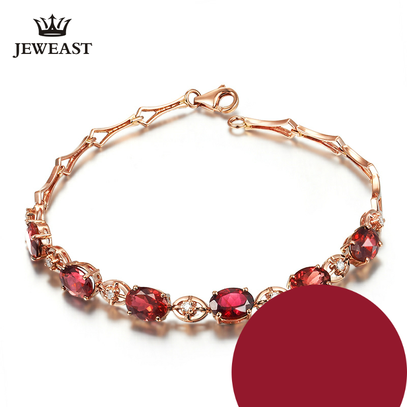 Natural red tourmaline 18k Pure Gold Female Bracelets Fine Jewelry  Gift Girl Thin Trendy Solid 750 Real Bangle Party Good NiceNatural red tourmaline 18k Pure Gold Female Bracelets Fine Jewelry  Gift Girl Thin Trendy Solid 750 Real Bangle Party Good Nice