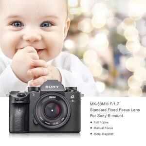 Image 2 - Meike 50 мм F1.7 ручной фокус объектив для Sony alpha E mount A6300 A6000 A6500 NEX3 NEX7 A7 A7II A7III полная Рамка беззеркальная камера