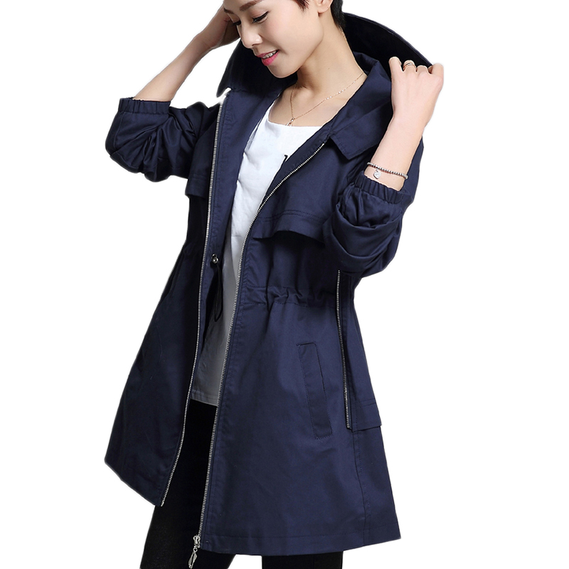 Ms Trench Coat 2017 Spring Autumn Women Windbreaker Coat Medium Long Hooded Large size Women Outerwear Casual Pure color Trench