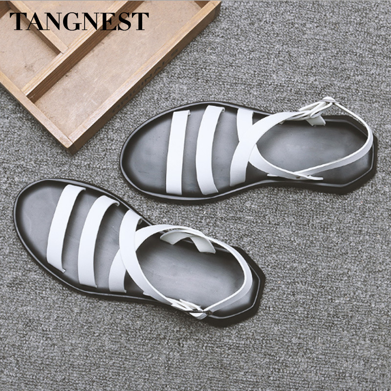 Tangnest 2018 New Summer Man Sandals Split Leather Gladiator Sandals Buckle High Quality Casual Flats Fashion Man Shoes XML233Tangnest 2018 New Summer Man Sandals Split Leather Gladiator Sandals Buckle High Quality Casual Flats Fashion Man Shoes XML233