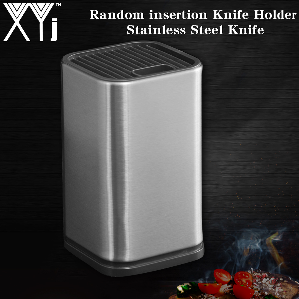 XYj New Kitchen Knife Holder Storage Stainless Steel Knife Block Stand For Knives Large Capacity Multifunctional Storage Seat