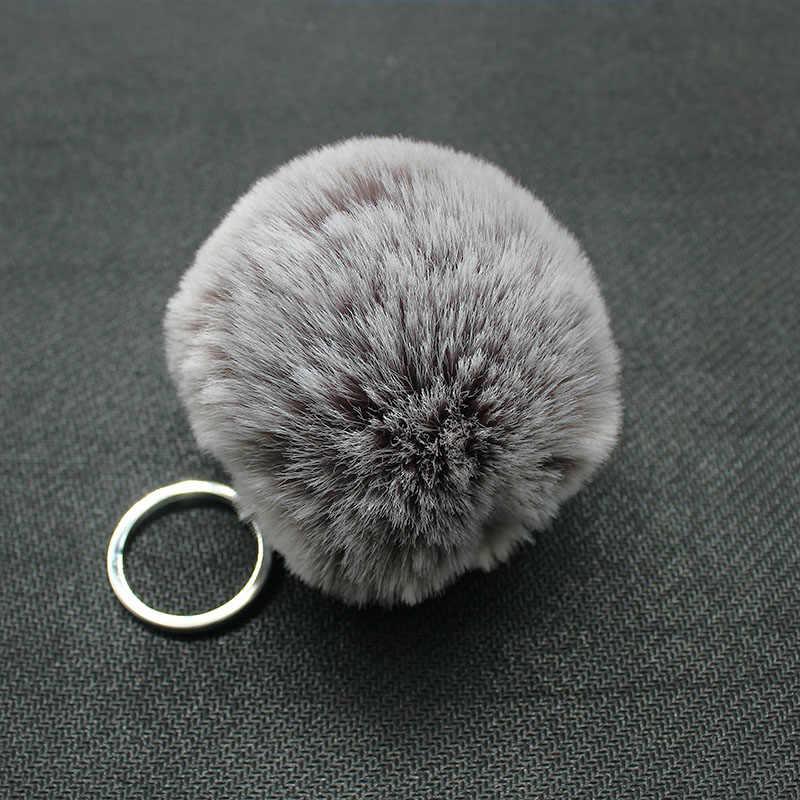 Moda Pom Pom SoftBall Chaveiro Para As Mulheres Do Floco De Neve Bolsa Faux Rex Rabbit Fur Pompom Chaveiro Carro anel Chave de Prata pingente