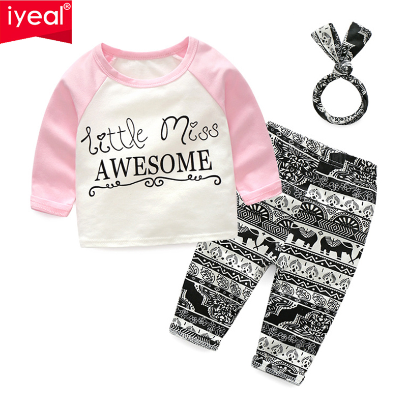 IYEAL Toddler Kids Girls Clothes set Cotton Letter Tops T-shirt + Long Pants +Headband Children Baby Girl Clothing for 1-5Years 2pcs children outfit clothes kids baby girl off shoulder cotton ruffled sleeve tops striped t shirt blue denim jeans sunsuit set