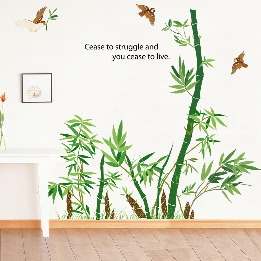 Forest wall decals image collections home wall decoration ideas green bamboo forest birds wall stickers chinese style wall decals green bamboo forest birds wall stickers amipublicfo Images