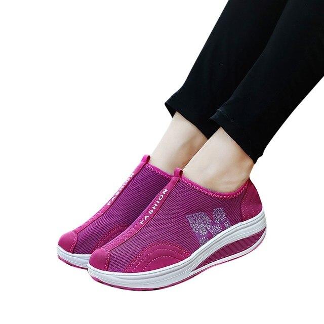 2019 New Sports Shoes Fashion Women Mesh Heightening Shoes Soft Bottom Rocking Shoes Walking Sneakers Dropshipping sportschoenen 3