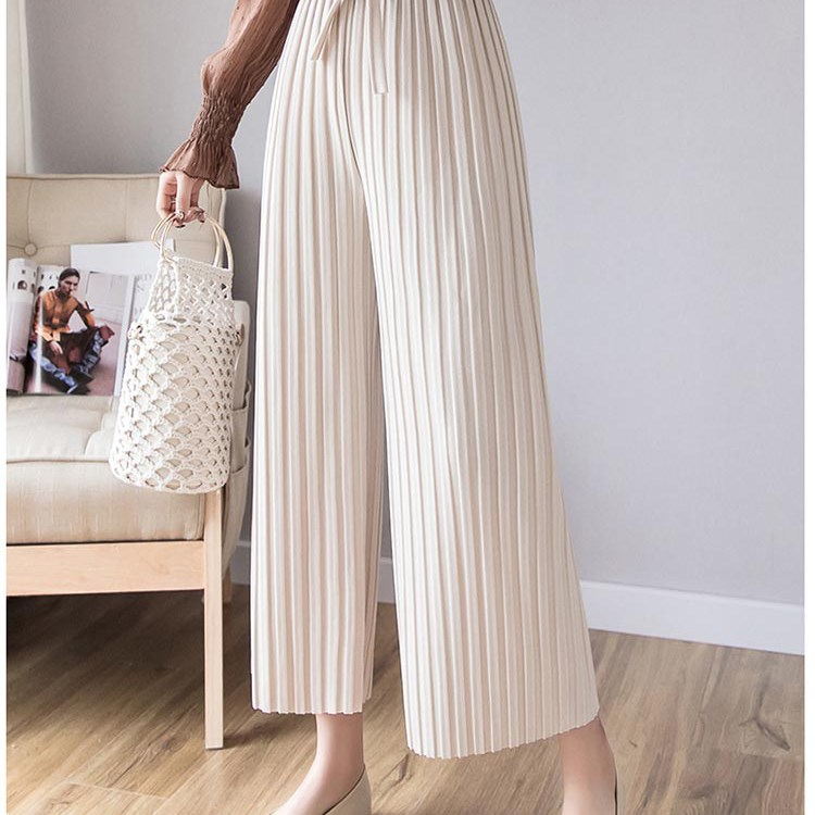 Hot Sale 2019 Women Solid High Waist Loose   Pant   Summer New Fashion Sashes Bow Casual Work   Pant   Elegant Pleated   Wide     Leg     Pant
