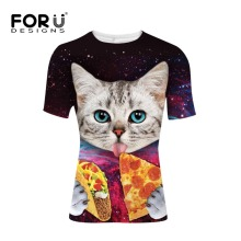 FORUDESIGNS 2017 Galaxy Space 3D T Shirt Lovely Kitten Cat Eat Taco Pizza Funny Tops Tees Short Sleeve Summer Shirts Plus Size