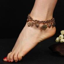Lzhlq винтажный браслет на ногу с подвеской в виде слона 2019