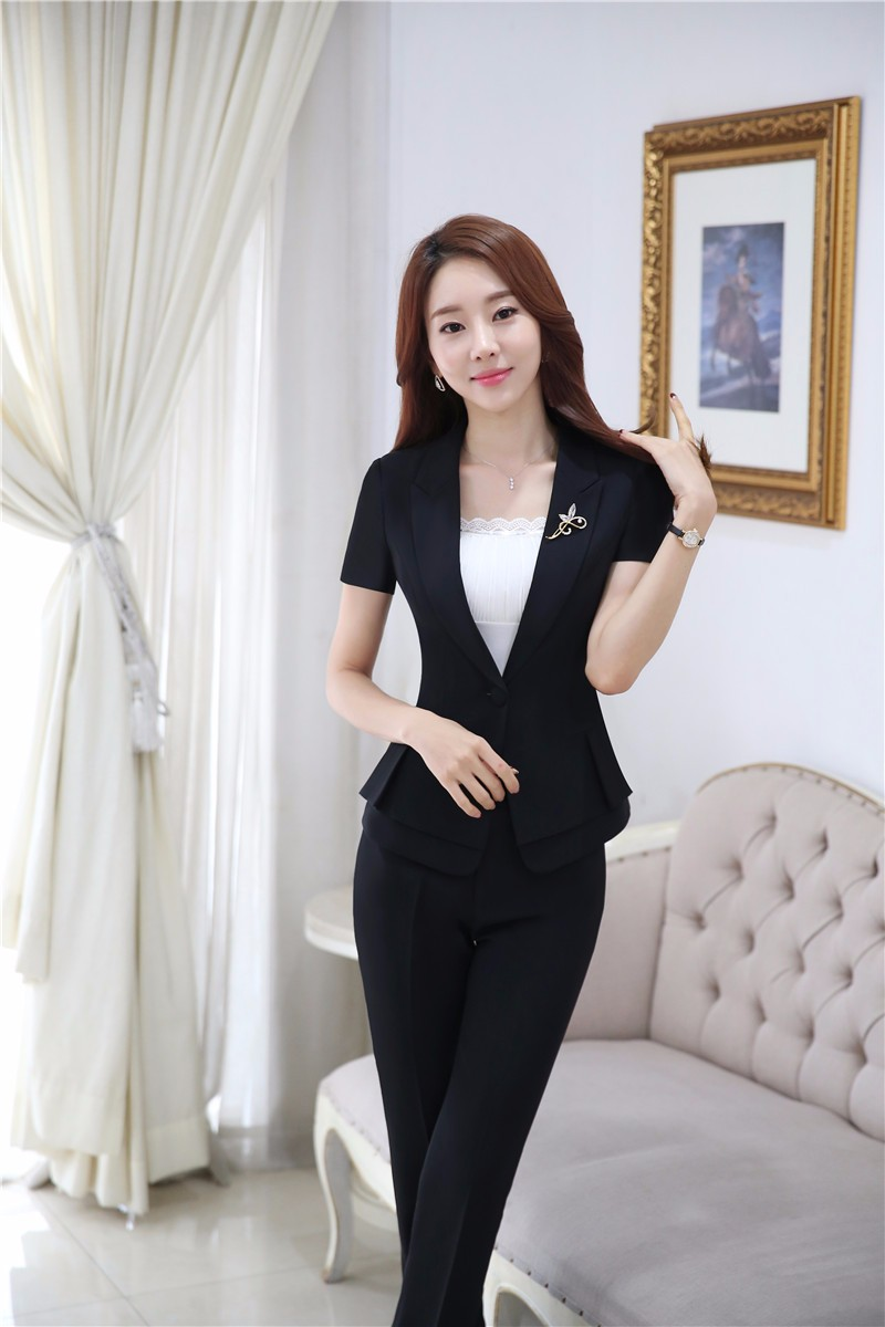 1c3319b50d Plus Size 4XL Professional Formal Pantsuits Short Sleeve 2016 Summer  Business Women Suits Female Trousers Sets Jackets And Pants-in Pant Suits  from ...