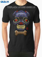 Gildan Teeplaza High Quality Casual Printing Tee Design Boston Terrier Sugar Skull Crew Neck Short Sleeve