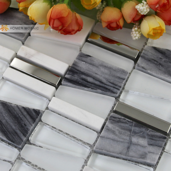 Mixed Glass, Natural Marble Stone and Metal Mosiac Tiles, Unique Design Wall Mosaic Tiles, Free shipping w
