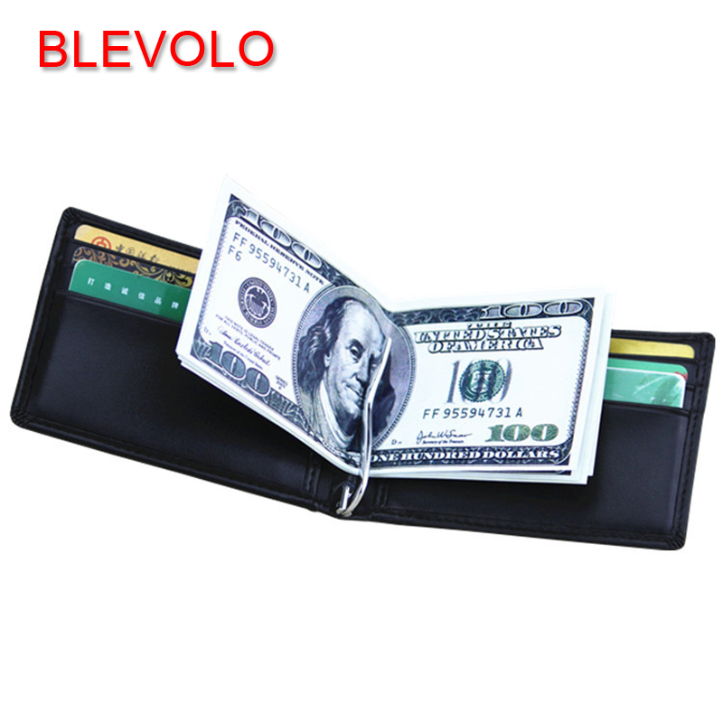 BLEVOLO Brand Men Wallet Genuine Leather Short Wallets Purses Casual Male Money Clips Soft Black Clutch Wallet For Men Purse valeri визитница