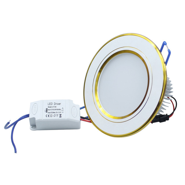 Free shipping 7W LED ceiling lamp Round Aluminum AC85-265V Recessed in indoor led lighting with led driver