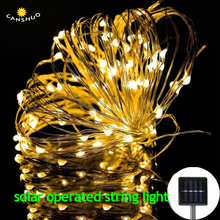 Outdoor Solar Powered Copper Wire LED String Lights 20M 200leds Waterproof Fairy Light for Christmas Garden Holiday Decoration