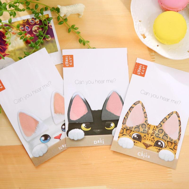 3pcs/lot Kawaii cute cat ears memo pads and stikcy notes Cute animals DIY post it Korean stationery office school supply canetas