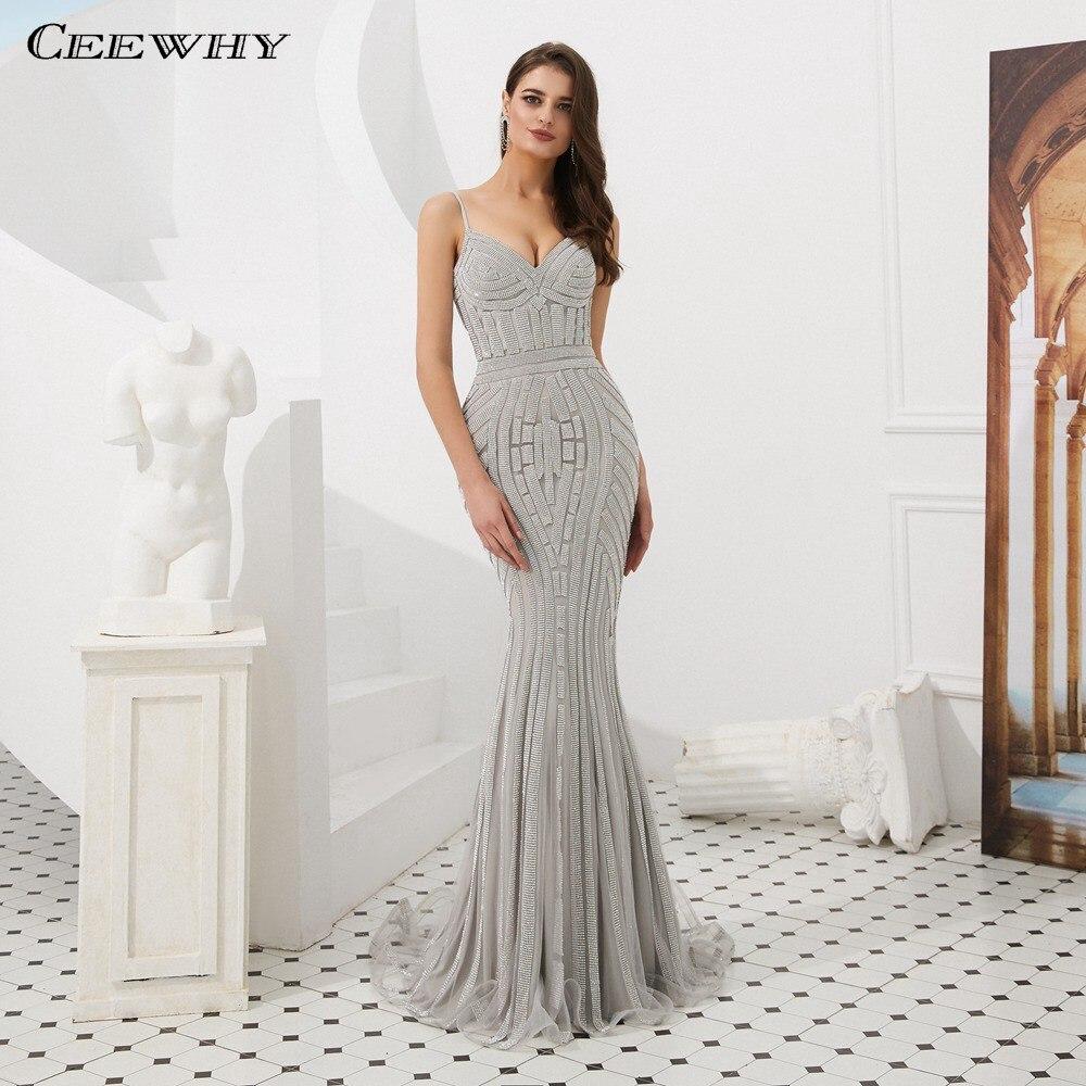 CEEWHY Spaghetti Strap Sweetheart Evening Dress Abendkleider Dubai Evening Dresses Beaded Mermaid Evening Gown Prom Dresses
