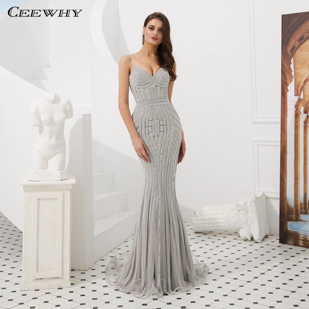 CEEWHY Spaghetti Strap Sweetheart Evening Dress Abendkleider Dubai Evening Dresses Beaded Mermaid Evening Gown Prom Dresses 2019