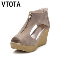 VTOTA Summer Shoes Woman Platform Sandals Women Soft Leather Casual Peep Toe Gladiator Wedges Women Shoes