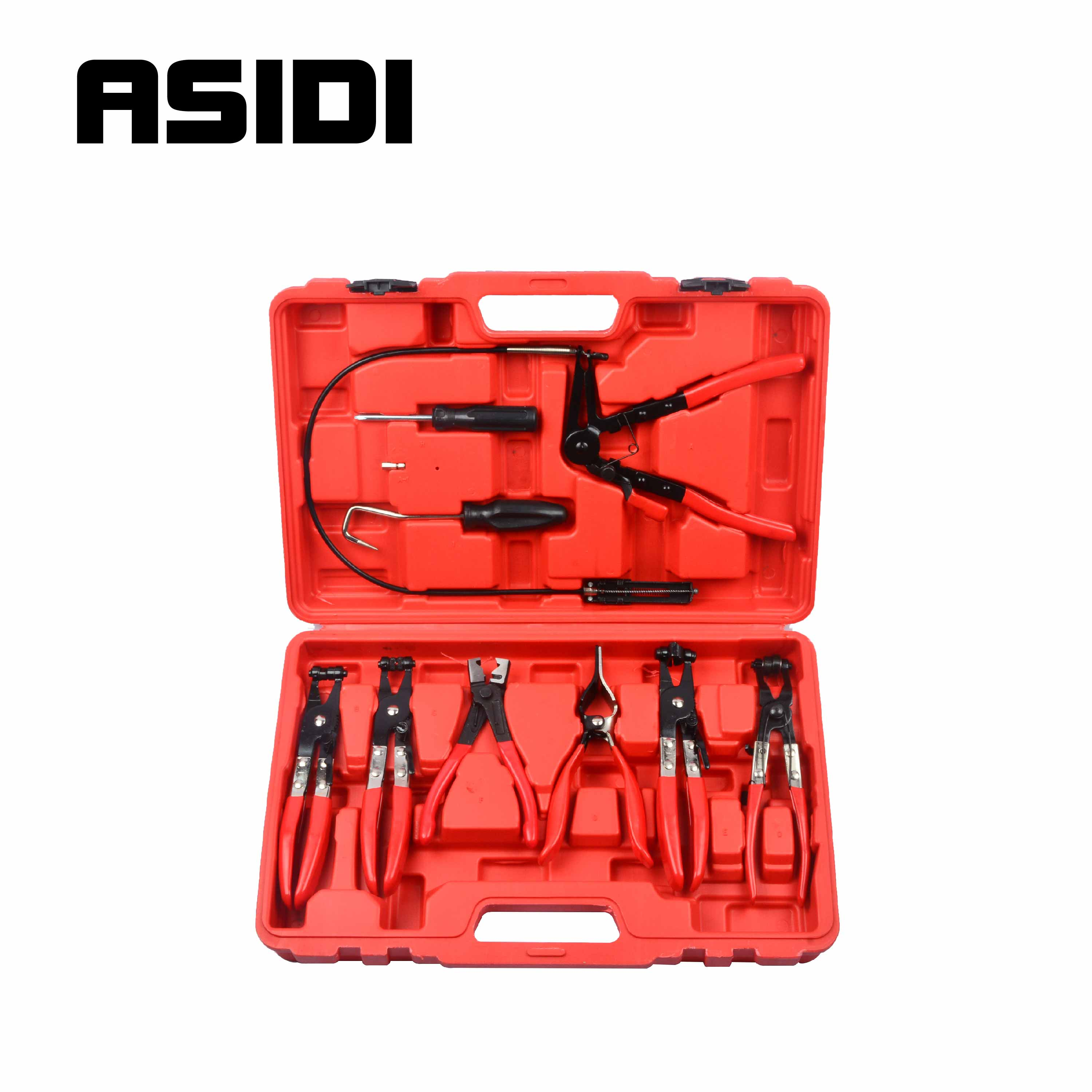 9Pcs Hose Clamp Ring Plier Clip Set Flexible Cable Plier Swivel Jaw Tool PT1002