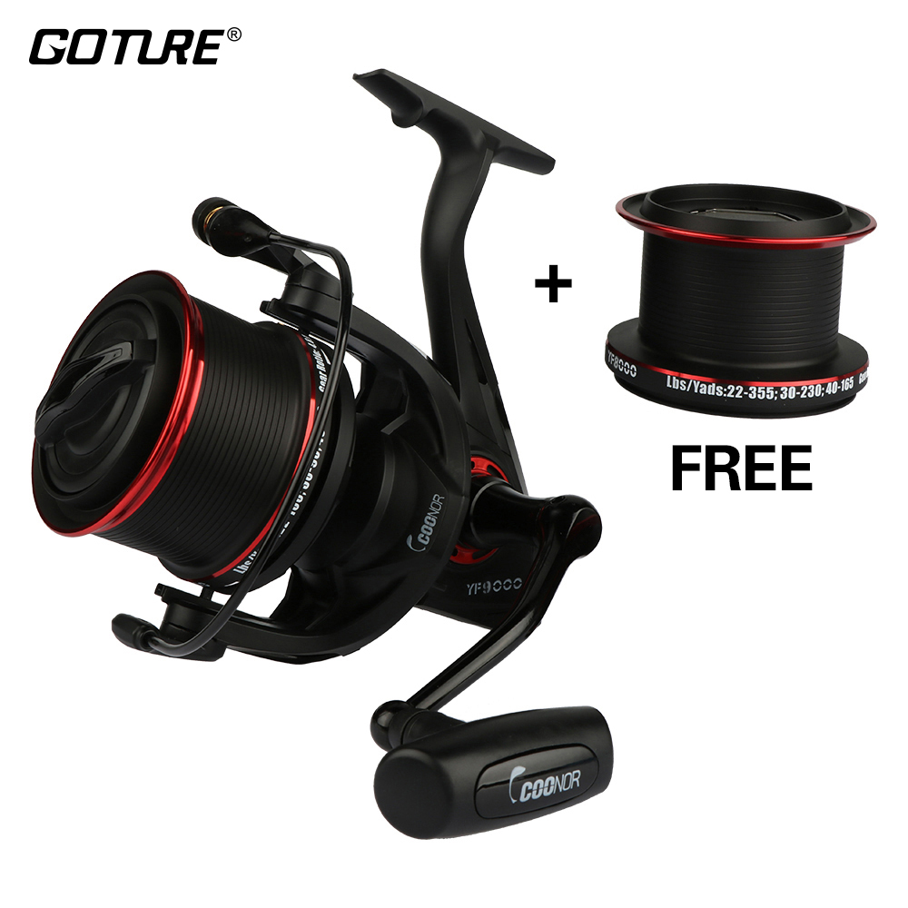Goture YF9000 Spinning Fishing Reel Metal Spool 12+1BB Max Drag 18kg Fishing Wheel + 8000 Series Free Spool molinete carretilha недорго, оригинальная цена