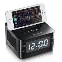 Стерео беспроводной динамик Bluetooth FM радио-будильник Компьютерные колонки с устройство для док-станции держатель для iPhone Android PC