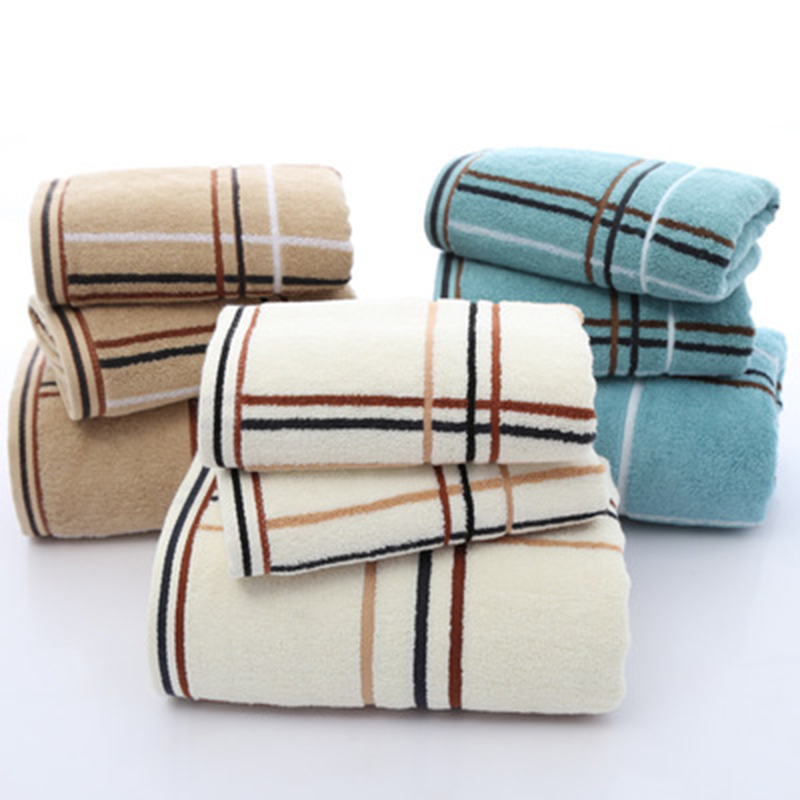 LF88010 3PCS towel bath hotel special soft towel perfect simple plaid towel set (2 * towel 1 * bath towel)