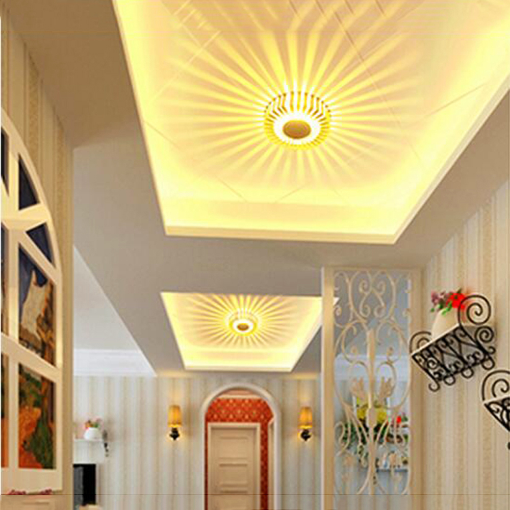 Lámpara de luz de pared LED Girasol redondo 3W Aluminio 110 / 220V Interior Bar KTV Sala de estar Pasillo Hotel Holiday decoración JL