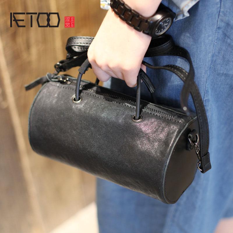 AETOO Black Sheepskin Cylindrical Bag Mini Handbag Shoulder Skip Bag Summer Korean Leather Round Cask фонарь maglite mini black m2a016e