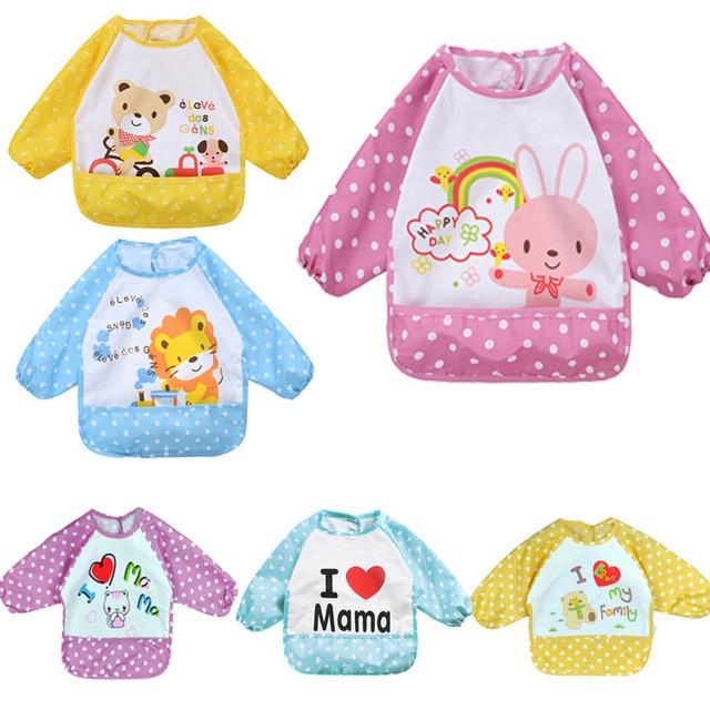 Baberos de bebé bonitos para la alimentación de niños con un babero de dibujos animados de bolsillo impermeable de manga larga delantal Smock Burp ropa comer niño pequeño ropa