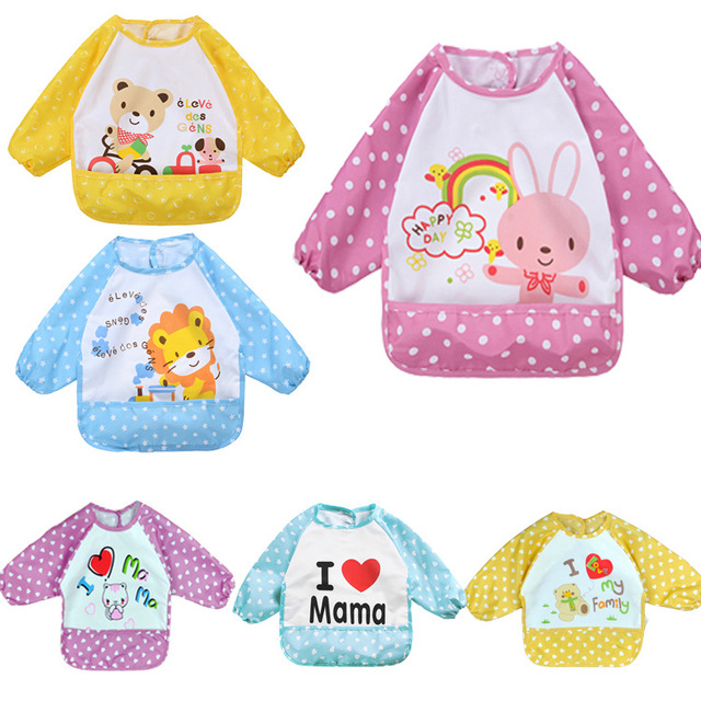 Cute Baby Bibs for Child Feeding with a Pocket Cartoon Bib Waterproof Long Sleeve Apron Smock Burp Clothes Eat Toddler Clothing