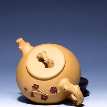 310ML Creative Yixing Purple Clay Tea Pot Sculpture Plum Flower Ceramic Stone Scoop Teapot Chinese Kung Fu Tea Kettle Art Gifts