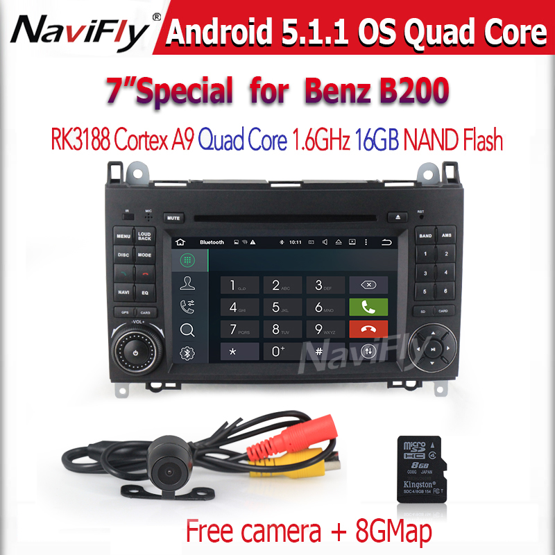 Free shipping with View camera car multimedia player for Benz B200 A160 Viano Vito Quad-Core android5.1 system 8g map gift