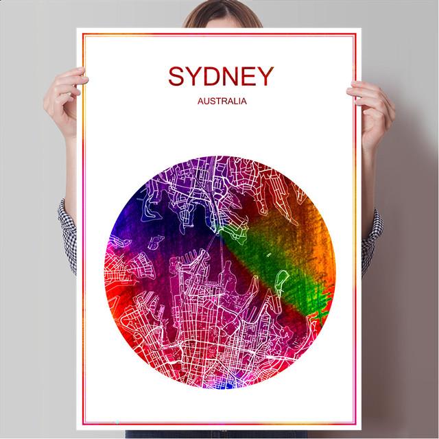 World Famous City Map Sydney Australia Print Poster Print On Paper