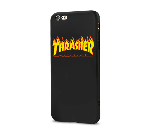 cheaper e2e41 120e8 THRASHER ulica deskorolka case dla iphone X XS MAX XR 10 8 7 6 6 S PLUS 5  5S SE miękki matowy silikonowy telefon pokrywa sport fala capa