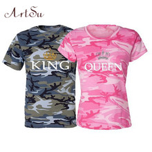 ArtSu Re Queen T shirt Femme Manica Corta Casual Best Amici T shirt Paio di Vestiti Tee Shirt Estate Magliette e camicette 4XL 5XL ASTS20031(China)