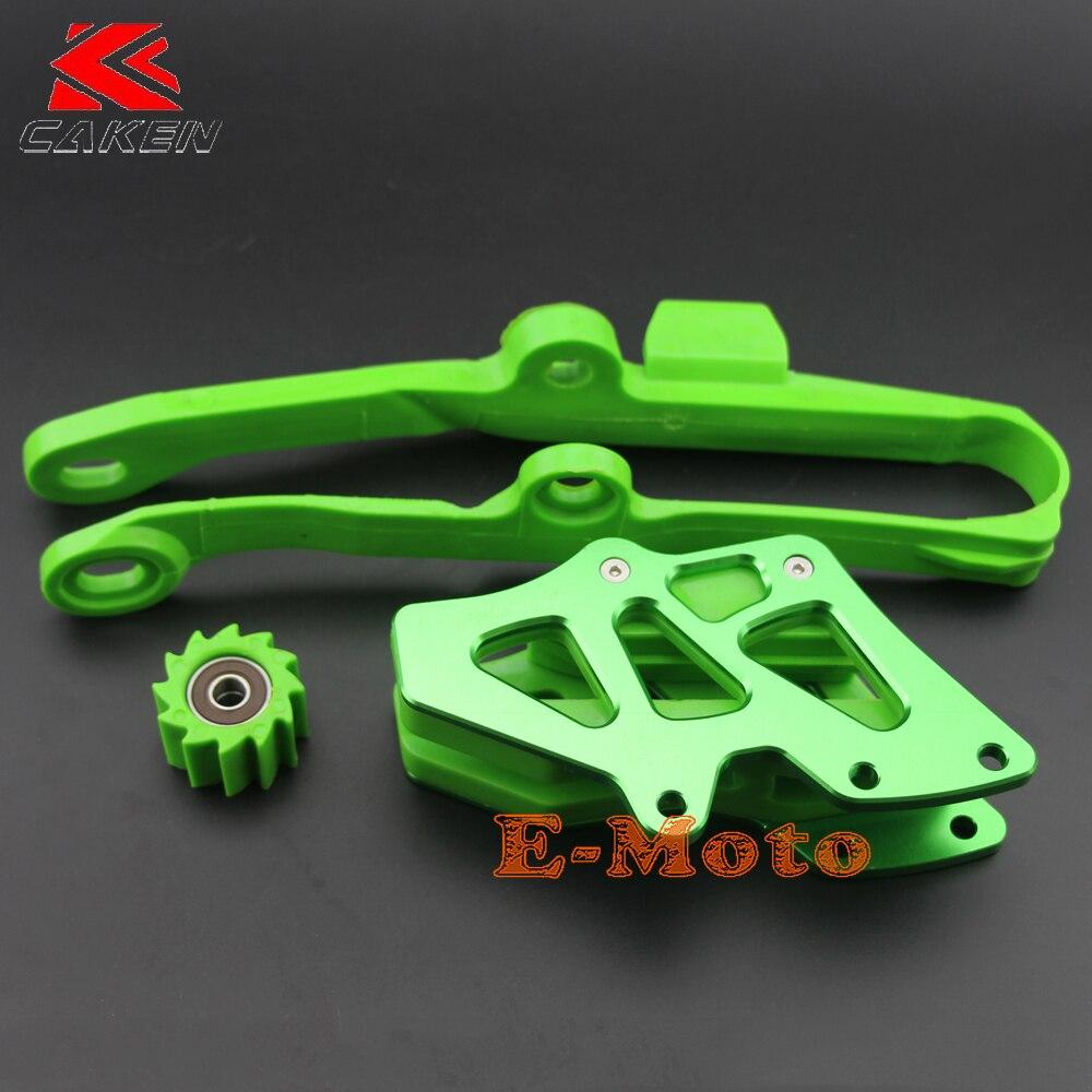 Billet Green Chain Guide Guard Swingarm Chain Slide Slider Roller Tensione Guide Cover Kit For KX250F