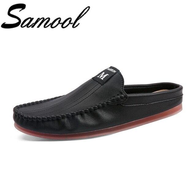 Holgazanes de los zapatos ocasionales de los hombres verano medio zapatillas deslizamiento en los zapatos ocasionales al aire libre hombres de cuero de conducción mocasines zapatos para hombre calzado wx5