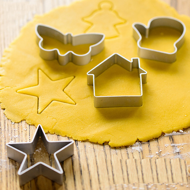 10pc/set Aluminium Christmas Cookie Cutters Cookie Mold Biscuit Mold Fondant DIY Cake Decorating Tools Kitchen Accessories