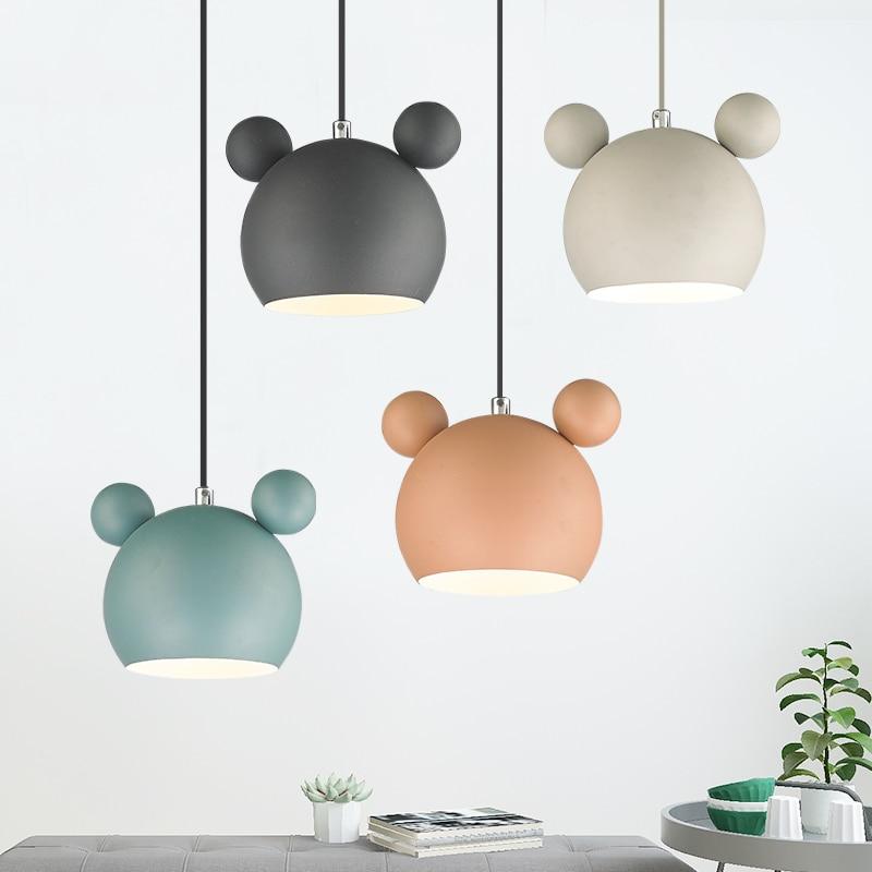 Art moderne belle Mickey Mouse fer pendentif lumières cadeau mignon métal pendentif lampes nordique pas cher fer suspendus lumières Lumianire lampe