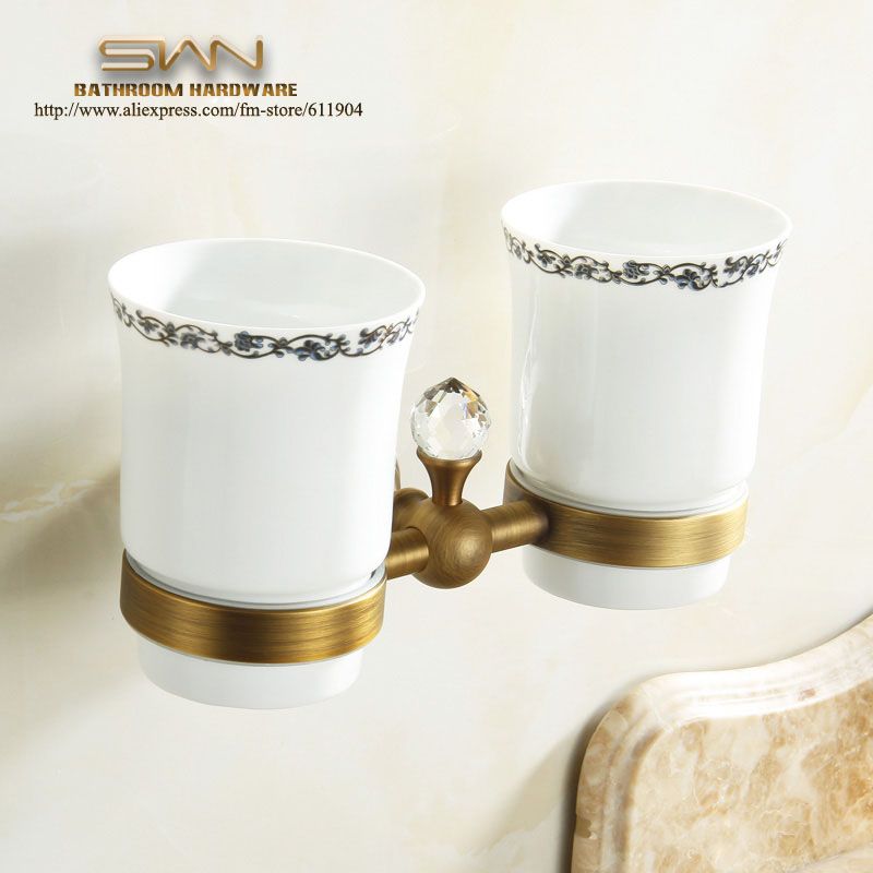 Free Shipping Crystal+ Brass+Glass Bathroom Accessories Vintage Style  Double Cup Tumbler Holders,Toothbrush Cup Holders 3A11821