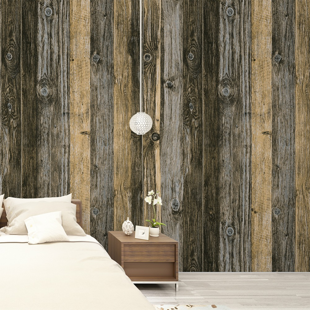HaokHome Vintage Wood Wallpaper Rolls Tan/Brown/Grey Wooden Plank Murals Home Kitchen Bathroom Decoration 20.8 x 393.7 new top grade gift pure tan wooden type h chun tan mu shu h kuan