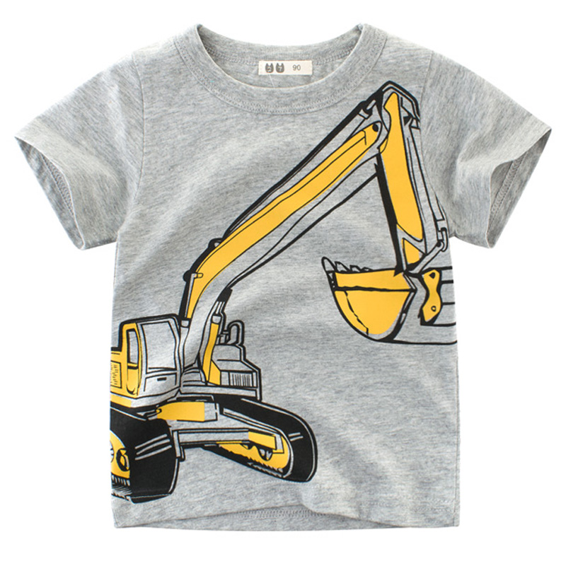 boys t <font><b>shirt</b></font> excavator kids t <font><b>shirt</b></font> children toddler tees tops cotton <font><b>baby</b></font> boy <font><b>basic</b></font> tshirts construction vehicle cotton clothes image